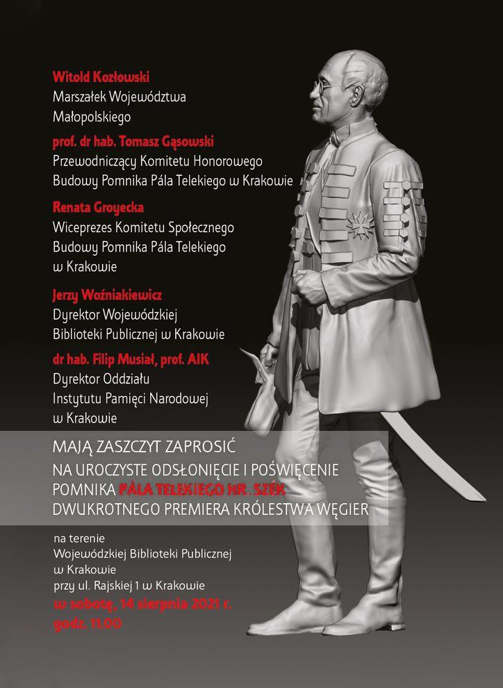 Odsłonięcie pomnika Pála Telekiego, hrabiego Szék, dwukrotnego premiera Węgier, przyjaciela Polski,